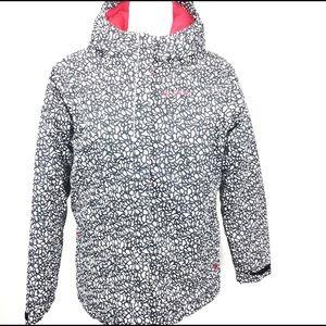 Columbia Black and Pink Zip Up Puffer Coat